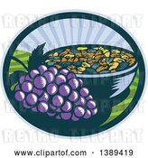 Vector Clip Art of Retro Woodcut Bunch of Purple Grapes by a Bowl of Raisins in an Oval with a Sunrise or Sunset by Patrimonio