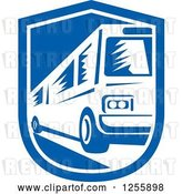 Vector Clip Art of Retro Woodcut Bus in a Shield by Patrimonio