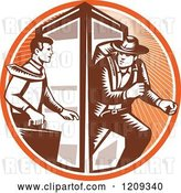 Vector Clip Art of Retro Woodcut Business Man Changing to an Explorer in a Phone Booth in an Orange Sunny Circle by Patrimonio
