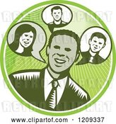 Vector Clip Art of Retro Woodcut Business Man in a Green Sunny Circle by Patrimonio