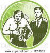 Vector Clip Art of Retro Woodcut Business Man Receiving a Trophy from His Boss in a Green Sunny Circle by Patrimonio