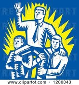 Vector Clip Art of Retro Woodcut Business Man Waving and Being Carried by Colleagues on Blue by Patrimonio