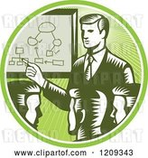 Vector Clip Art of Retro Woodcut Business Men Holding a Networking Meeting in a Green Sunny Circle by Patrimonio