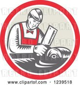 Vector Clip Art of Retro Woodcut Butcher Guy Chopping Meat in a Circle by Patrimonio