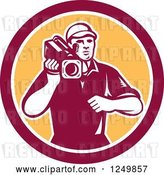 Vector Clip Art of Retro Woodcut Cameraman in a Yellow and Maroon Circle by Patrimonio