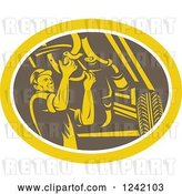 Vector Clip Art of Retro Woodcut Car Mechanic Working Under the Chassis in an Oval by Patrimonio