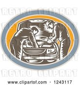Vector Clip Art of Retro Woodcut Car Mechanics Working on an Engine in an Oval by Patrimonio