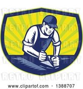 Vector Clip Art of Retro Woodcut Carpenter Wearing a Hat and Overalls, Working with a Smooth Plane on a Wood Surface in a Blue Green and Yellow Shield by Patrimonio