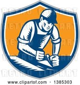 Vector Clip Art of Retro Woodcut Carpenter Wearing a Hat and Overalls, Working with a Smooth Plane on a Wood Surface in a Gray, Blue White and Orange Shield by Patrimonio