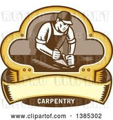 Vector Clip Art of Retro Woodcut Carpenter Wearing a Hat and Overalls, Working with a Smooth Plane on a Wood Surface Inside a Clover Leaf Design with a Blank Banner and Text by Patrimonio