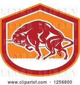 Vector Clip Art of Retro Woodcut Charging Angry Bison in a Red White and Orange Shield by Patrimonio