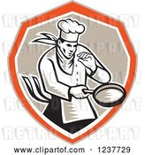 Vector Clip Art of Retro Woodcut Chef Holding a Frying Pan in a Tan and Orange Shield by Patrimonio