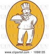 Vector Clip Art of Retro Woodcut Chef Holding out a Platter in a Yellow Oval by Patrimonio