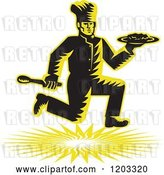 Vector Clip Art of Retro Woodcut Chef Running with a Plate and Spoon by Patrimonio