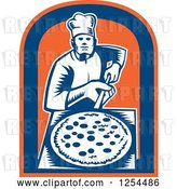 Vector Clip Art of Retro Woodcut Chef with a Pizza on a Peel in a Blue and Orange Shield by Patrimonio
