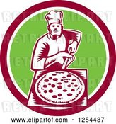 Vector Clip Art of Retro Woodcut Chef with a Pizza on a Peel in a Green and Red Circle by Patrimonio