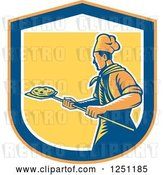 Vector Clip Art of Retro Woodcut Chef with a Pizza on a Peel Inside a Shield by Patrimonio