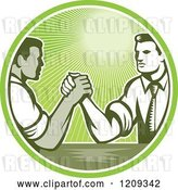 Vector Clip Art of Retro Woodcut Competitive Business Men Arm Wrestling in a Green Sunny Circle by Patrimonio