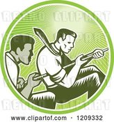 Vector Clip Art of Retro Woodcut Competitive Business Men Working Together in a Tug of War in a Green Sunny Circle by Patrimonio