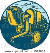 Vector Clip Art of Retro Woodcut Concrete Mixer in a Blue Circle by Patrimonio