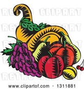 Vector Clip Art of Retro Woodcut Cornucopia Basket with Apples, Grapes, Cherries and a Plum by Patrimonio
