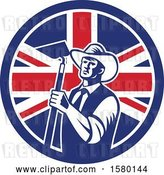 Vector Clip Art of Retro Woodcut Cowboy Farmer Holding a Hoe in a Union Jack Flag Circle by Patrimonio