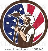 Vector Clip Art of Retro Woodcut Cowboy Farmer Holding a Hoe in an American Flag Circle by Patrimonio