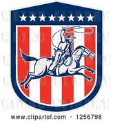 Vector Clip Art of Retro Woodcut Cowboy Swinging a Lasso over an American Shield by Patrimonio