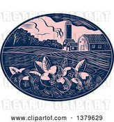 Vector Clip Art of Retro Woodcut Cranberry Farm with a Barn, Silo and Crops in a Pink and Navy Blue Oval by Patrimonio