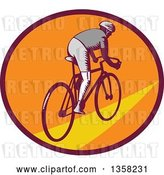 Vector Clip Art of Retro Woodcut Cyclist Riding Away in a Purple Orange and Yellow Oval by Patrimonio
