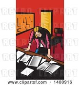 Vector Clip Art of Retro Woodcut Depressed Female Teacher Looking down on a Desk with Books and Paper by Patrimonio