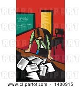 Vector Clip Art of Retro Woodcut Depressed Female Teacher Looking down on a Desk with Papers by Patrimonio