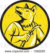 Vector Clip Art of Retro Woodcut Dingo Dog Welder in a Black and Yellow Circle by Patrimonio
