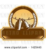 Vector Clip Art of Retro Woodcut Draft Beer Growler Jugs Hanging on a Clothesline over a Picket Fence in a Circle over a Blank Banner by Patrimonio