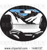 Vector Clip Art of Retro Woodcut Driver and Passenger in a Car, Heading Towards Mountains by Patrimonio