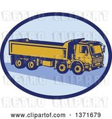Vector Clip Art of Retro Woodcut Dump Truck in a Blue Oval by Patrimonio