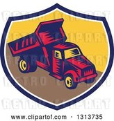 Vector Clip Art of Retro Woodcut Dump Truck in a Blue White and Yellow Shield by Patrimonio