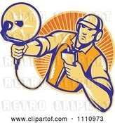 Vector Clip Art of Retro Woodcut Engineer Holding an Ultrasound Sonar Satellite Dish over a Circle of Rays by Patrimonio