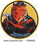 Vector Clip Art of Retro Woodcut Eurasian Brown Bear Handman Holding Tools, with Folded Arms in a Circle by Patrimonio