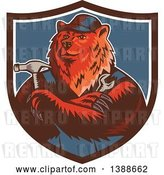 Vector Clip Art of Retro Woodcut Eurasian Brown Bear Handman Holding Tools, with Folded Arms in a Shield by Patrimonio