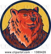 Vector Clip Art of Retro Woodcut Eurasian Brown Bear in a Blue and Yellow Circle by Patrimonio