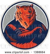 Vector Clip Art of Retro Woodcut Eurasian Brown Bear with Folded Arms in a Circle by Patrimonio