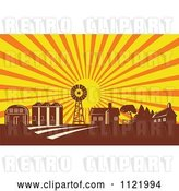 Vector Clip Art of Retro Woodcut Farm with a Windmill House Barn and Silos at Sunrise by Patrimonio