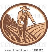 Vector Clip Art of Retro Woodcut Farmer Sowing Seeds in an Oval by Patrimonio