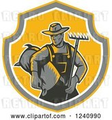 Vector Clip Art of Retro Woodcut Farmer with a Rake and Bag of Seed in a Shield by Patrimonio