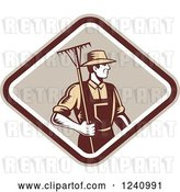 Vector Clip Art of Retro Woodcut Farmer with a Rake in a Diamond by Patrimonio
