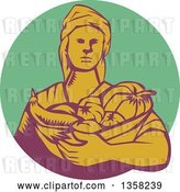Vector Clip Art of Retro Woodcut Female Farmer Holding a Basket of Harvest Produce in a Green Purple and Yellow Circle by Patrimonio