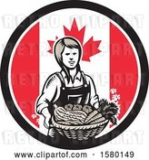 Vector Clip Art of Retro Woodcut Female Farmer Holding a Basket of Produce in a Canadian Flag Circle by Patrimonio