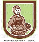 Vector Clip Art of Retro Woodcut Female Farmer Holding a Basket of Produce in a Shield by Patrimonio