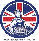 Vector Clip Art of Retro Woodcut Female Farmer Holding a Basket of Produce in a Union Jack Flag Circle by Patrimonio
